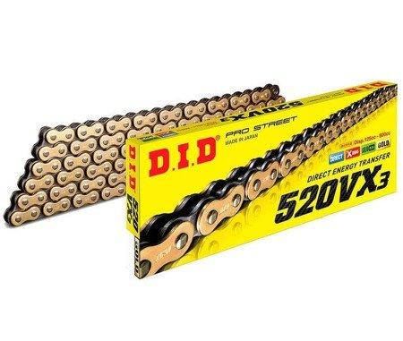 Łańcuch napędowy DID 520VX3 110 ogniw złoty otwarty z zakuwką